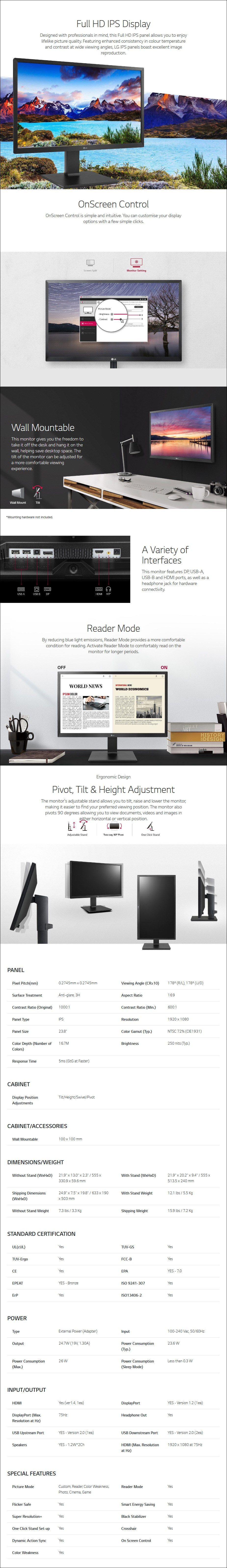 "Samsung 24BL450Y-B 23.8"" 75Hz Full HD Ergonomic IPS Monitor - Overview 1"