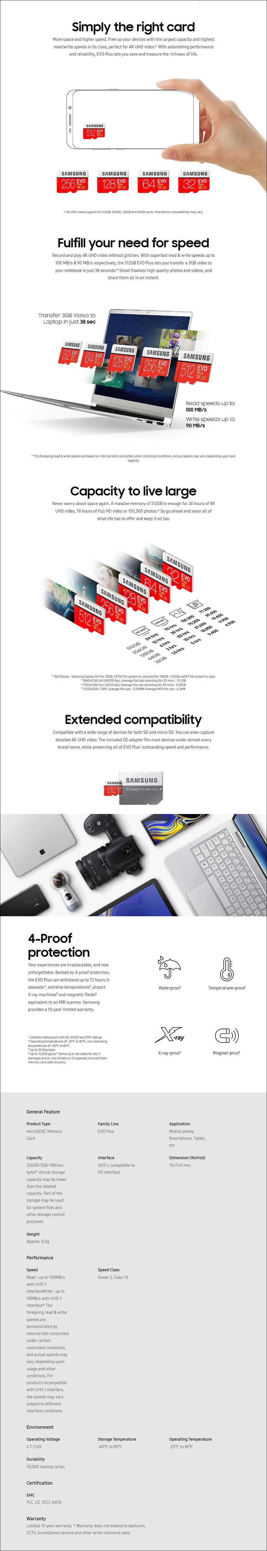 Samsung 256GB microSDXC EVO Plus UHS-I Class 10 Memory Card - No Adapter - Overview 1