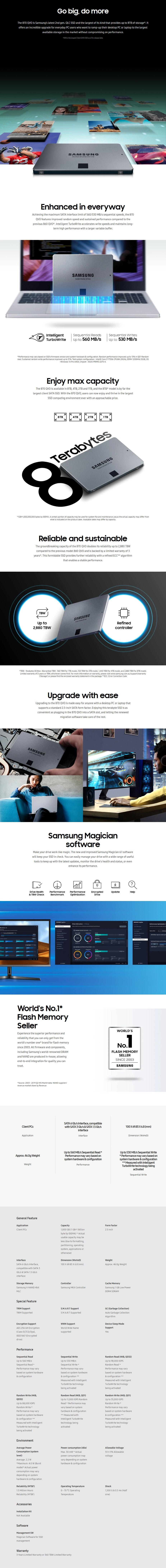 Samsung 870 QVO 1TB 2.5: SATA III 6GB/s 4-Bit MLC V-NAND SSD MZ-77Q1T0BW - Overview 1