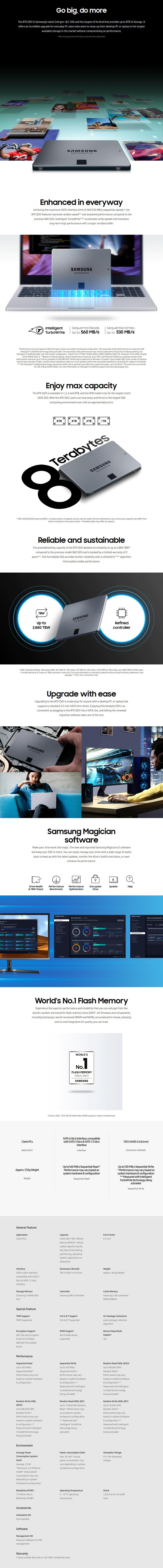 Samsung 870 QVO 2TB 2.5: SATA III 6GB/s 4-Bit MLC V-NAND SSD MZ-77Q2T0BW - Overview 1