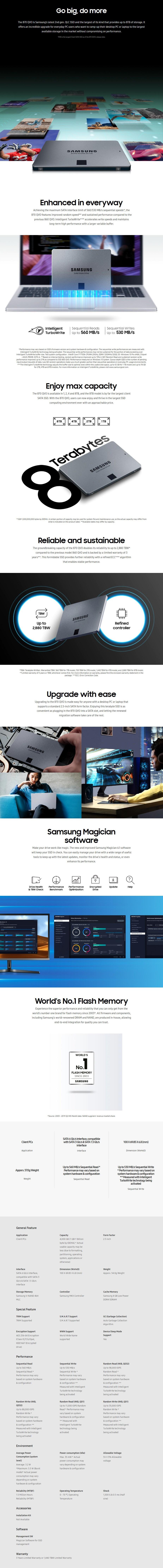 Samsung 870 QVO 4TB 2.5: SATA III 6GB/s 4-Bit MLC V-NAND SSD MZ-77Q4T0BW - Overview 1
