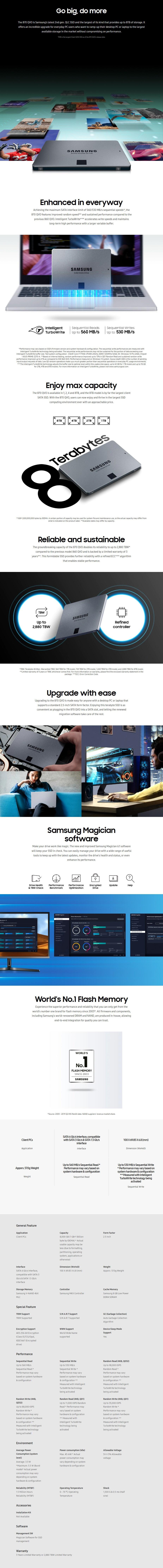"Samsung 870 QVO 8TB 2.5"" SATA III 6GB/s 4-Bit MLC V-NAND SSD MZ-77Q8T0BW - Overview 1"