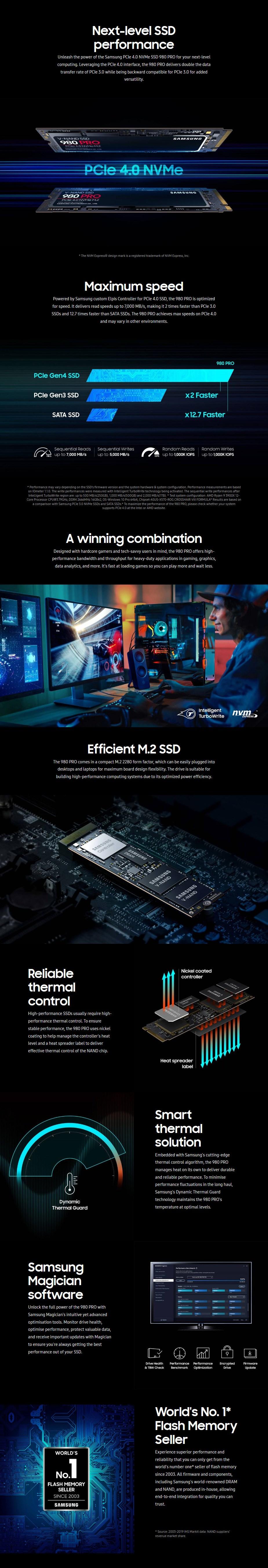 Samsung 980 Pro 500GB NVMe 1.3c M.2 (2280) V-NAND 3-Bit MLC SSD - MZ-V8P500BW - Overview 1