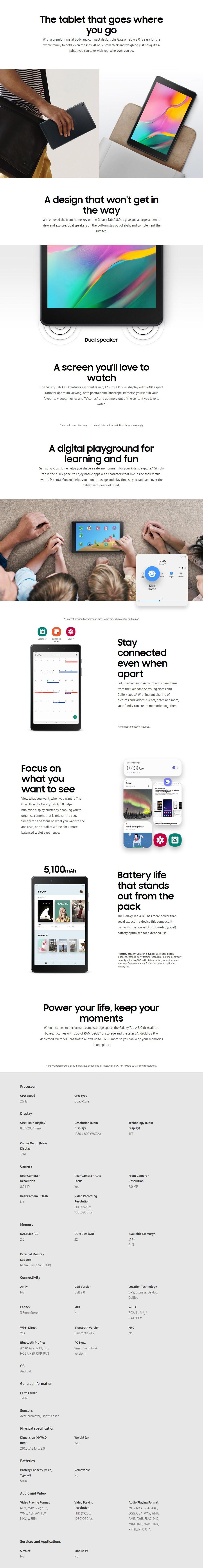 "Samsung Galaxy Tab A 8"" 2GB 32GB Wi-Fi - Black - Overview 1"