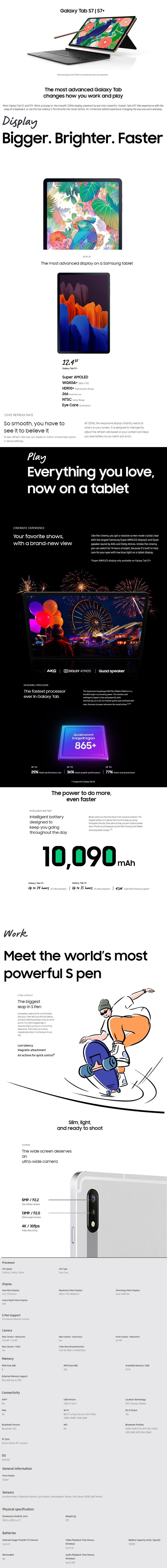 "Samsung Galaxy Tab S7+ 12.4"" 256GB Wi-Fi - Silver - Overview 1"