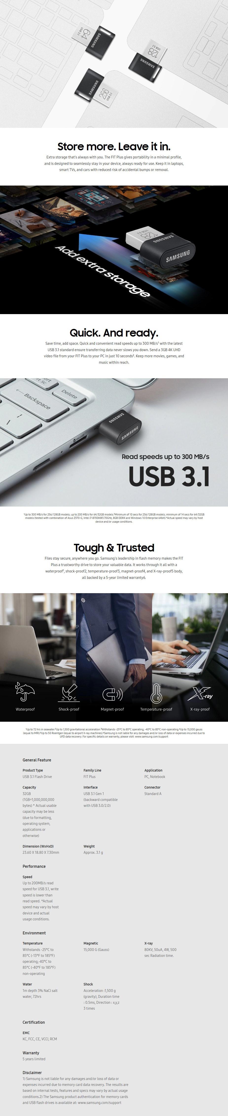 Samsung MUF-32AB/APC 32GB USB 3.0 FIT Plus Flash Drive - Overview 1