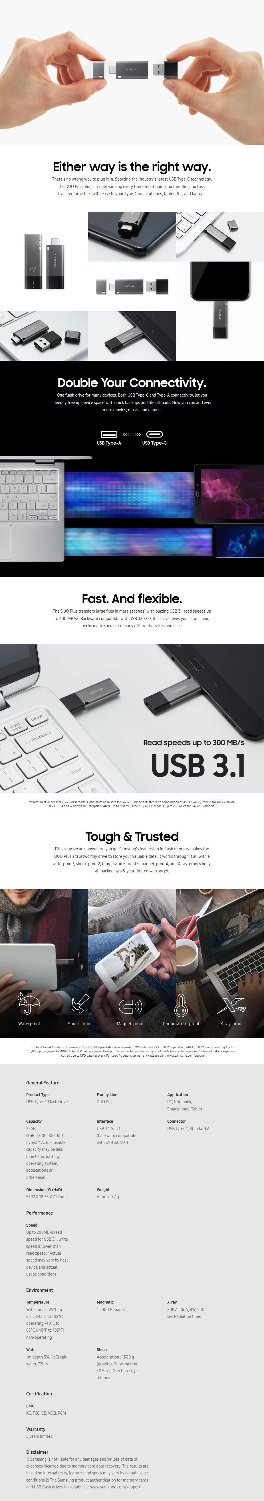 Samsung MUF-32DB/APC 32GB DUO Plus USB-C Flash Drive - Overview 1