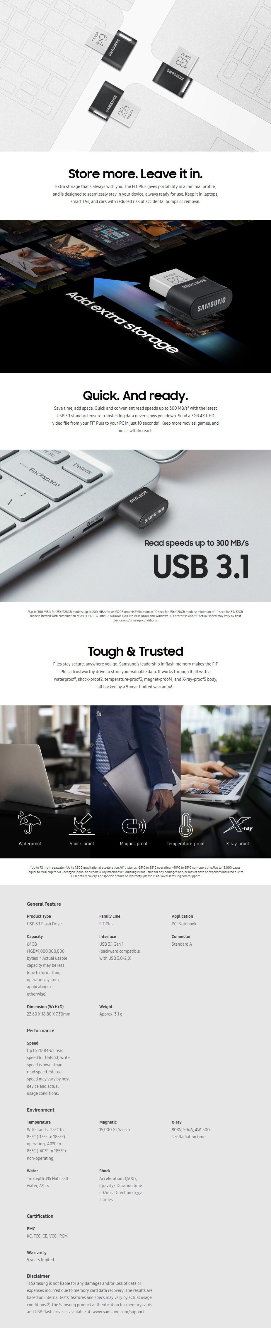 Samsung MUF-64AB/APC 64GB USB 3.0 FIT Plus Flash Drive - Overview 1