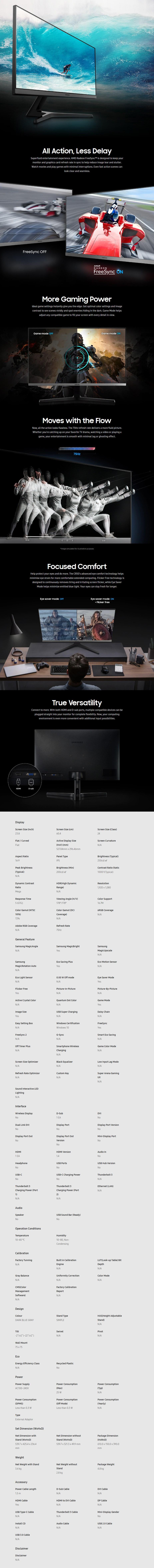 "Samsung SR350 23.8"" 75Hz Full HD FreeSync IPS Monitor - Overview 1"