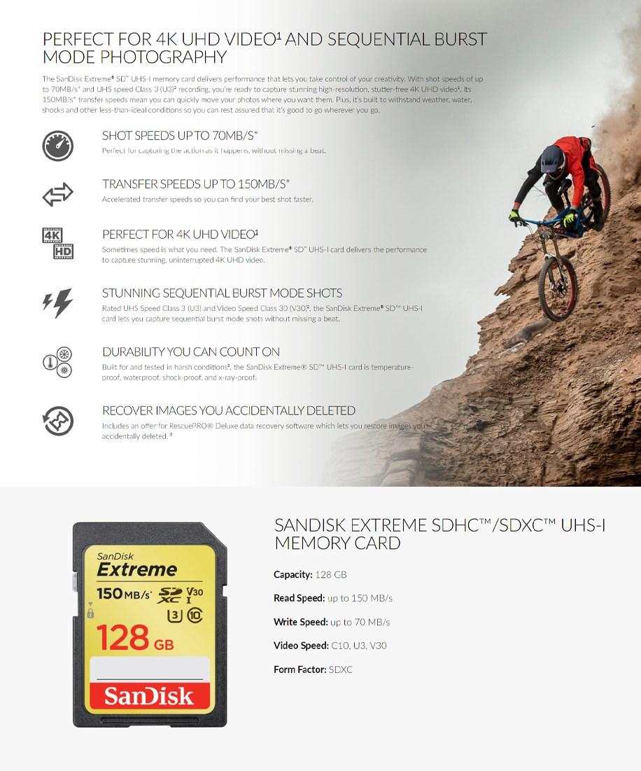 SanDisk 128GB Extreme SDXC UHS-I U3 V30 Memory Card - 150MB/s  - Overview 1