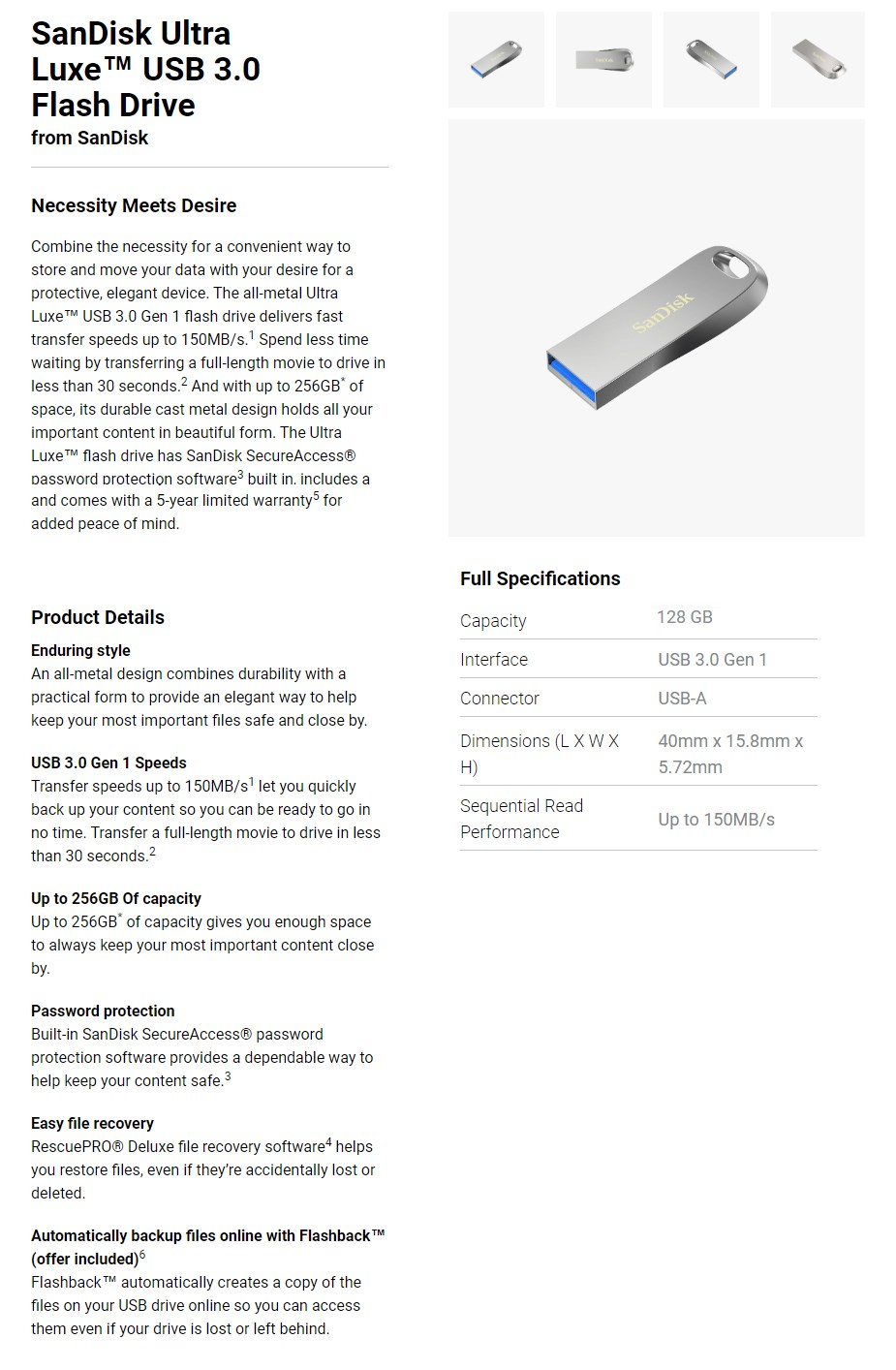 SanDisk 128GB Ultra Luxe USB 3.0 Flash Drive - Overview 1
