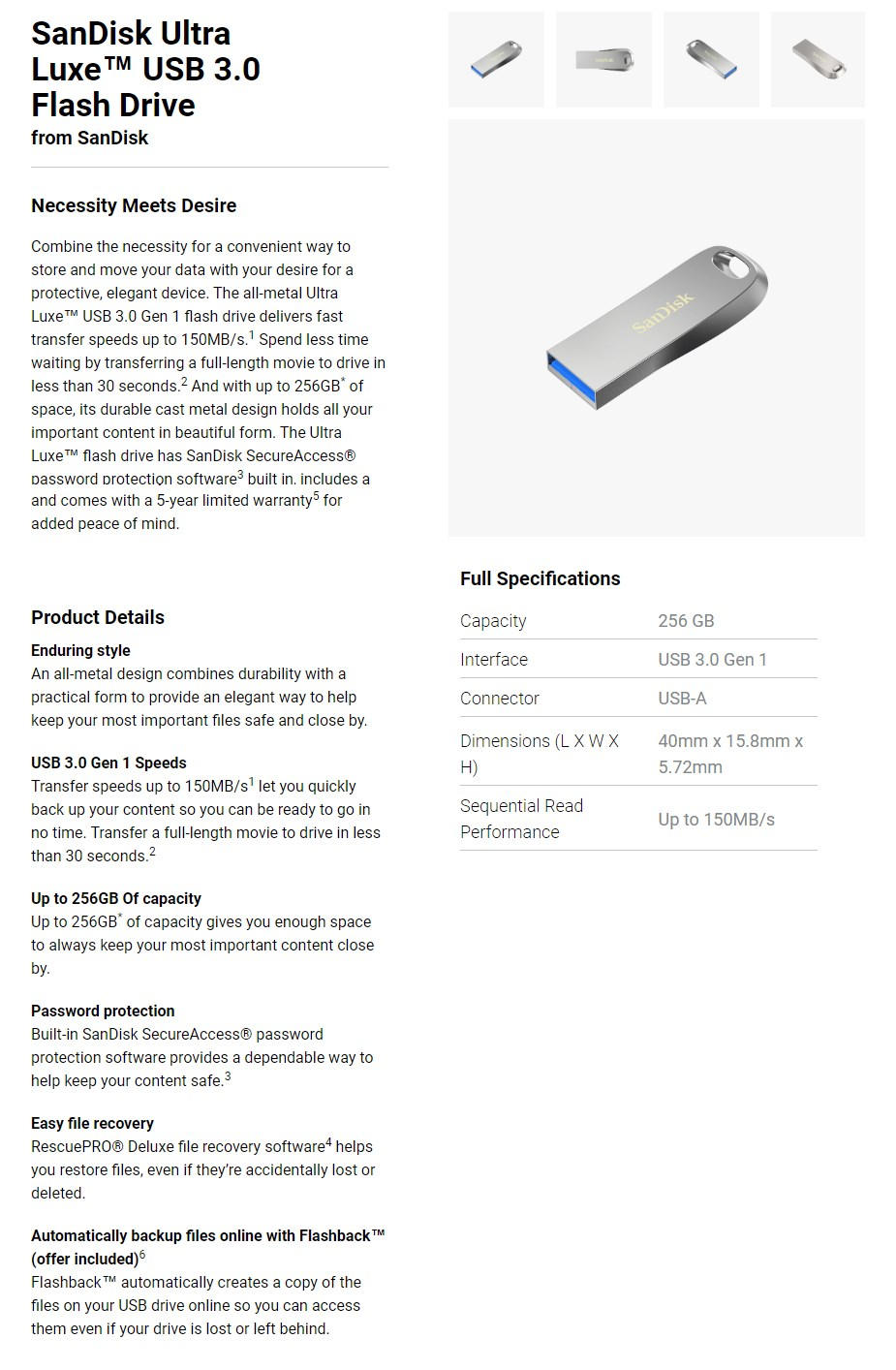 SanDisk 256GB Ultra Luxe USB 3.0 Flash Drive - Overview 1
