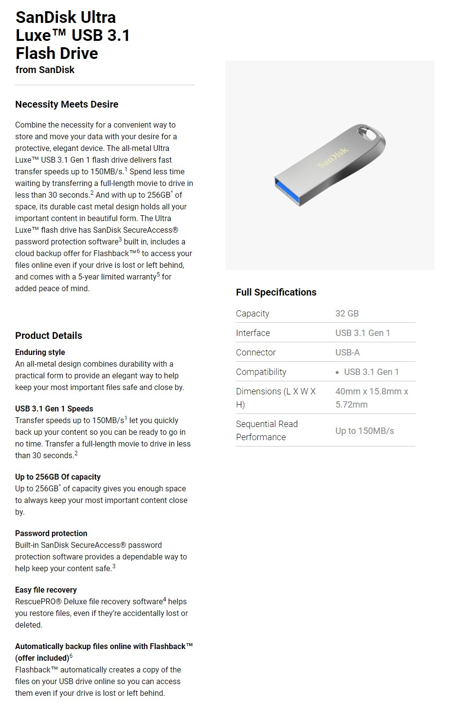 SanDisk 32GB Ultra Luxe USB 3.1 Flash Drive - Overview 1