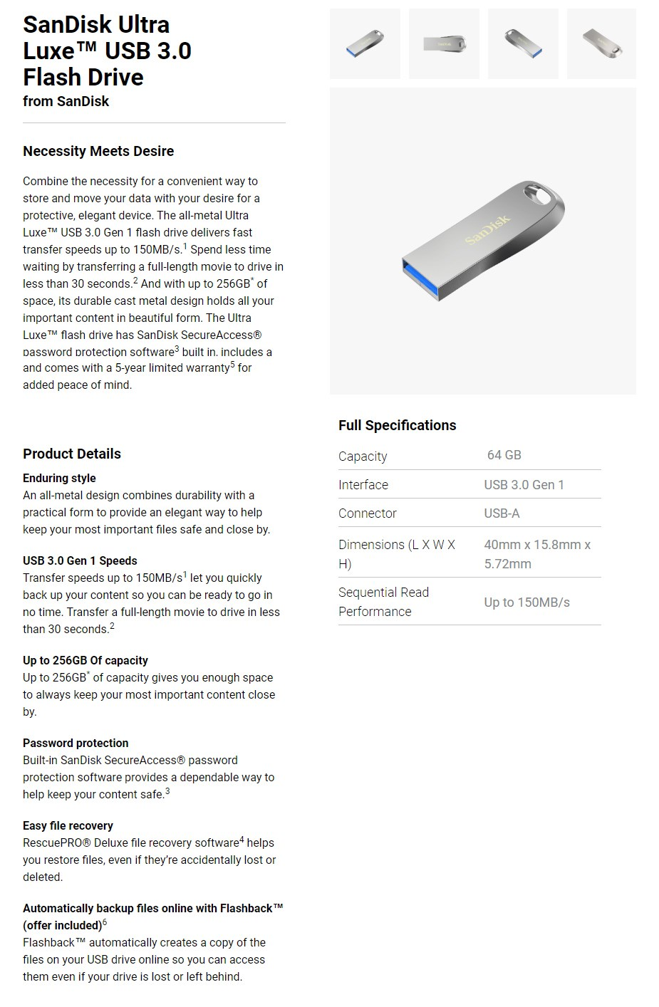 SanDisk 64GB Ultra Luxe USB 3.0 Flash Drive - Overview 1