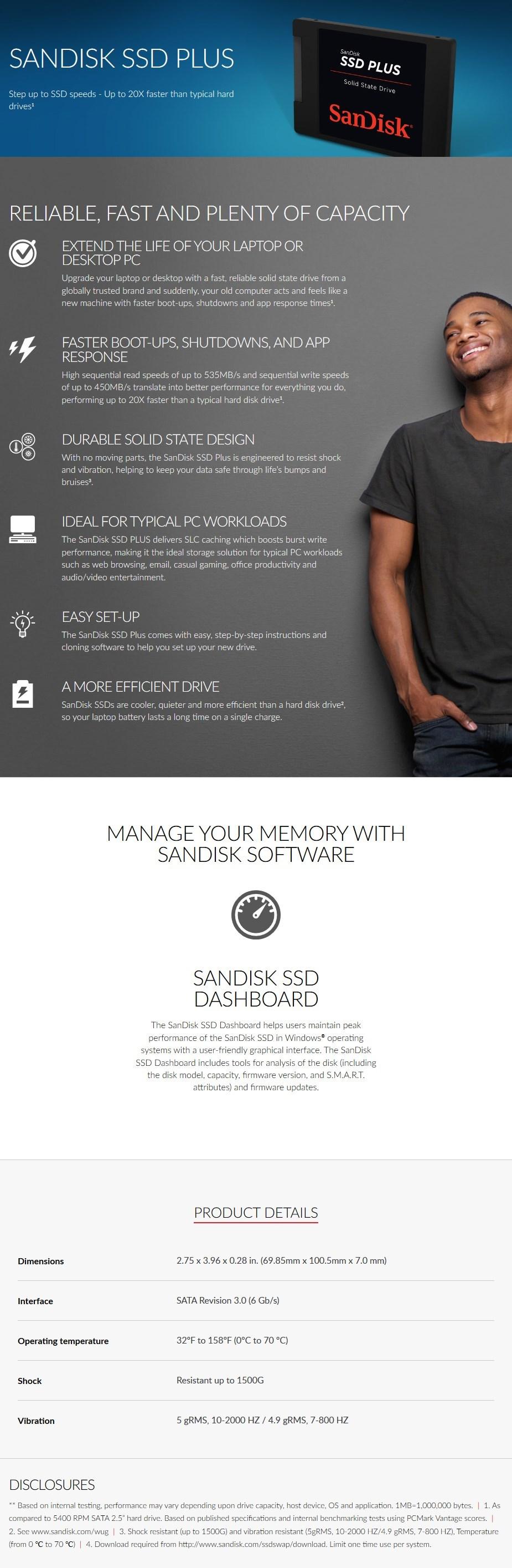 "SanDisk SSD Plus 120GB 2.5"" SATA III SSD SDSSDA-120G-G27 - Overview 1"