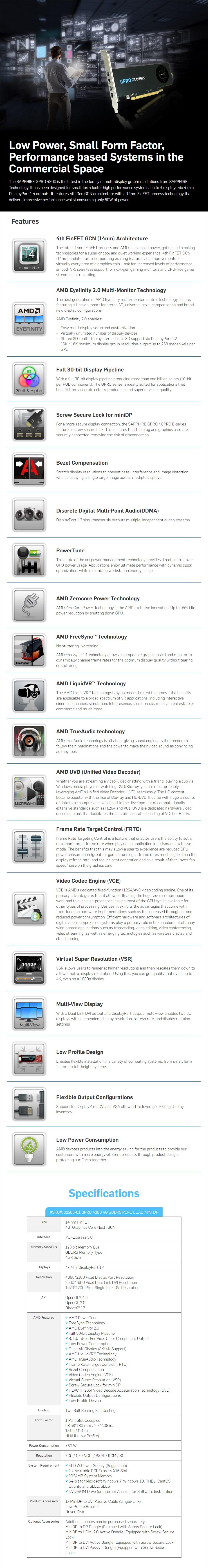 Sapphire GPRO 4300 4GB GDDR5 Video Card - Overview 1