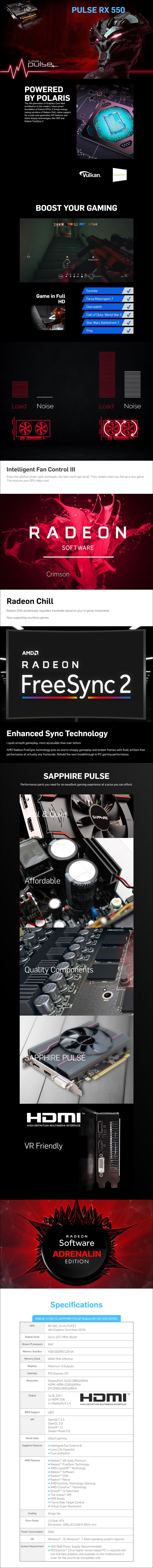 Sapphire Radeon RX 550 Pulse 4GB Video Card - Overview 1