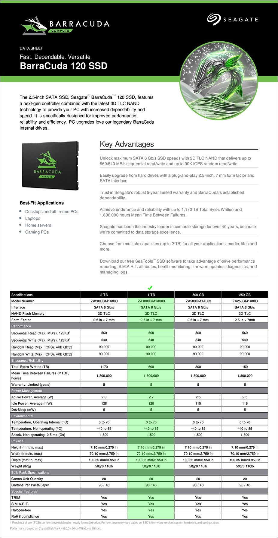"""Seagate Barracuda 120 1TB 2.5"""" SATA SSD - ZA1000CM1A003 - Overview 1"""