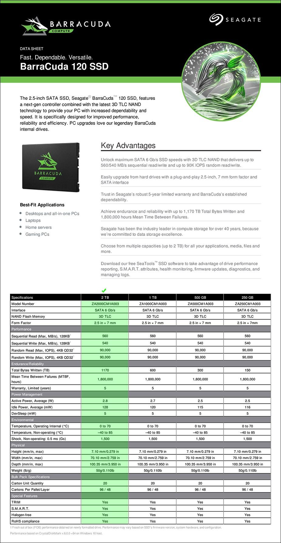 """Seagate Barracuda 120 2TB 2.5"""" SATA SSD - ZA2000CM1A003 - Overview 1"""