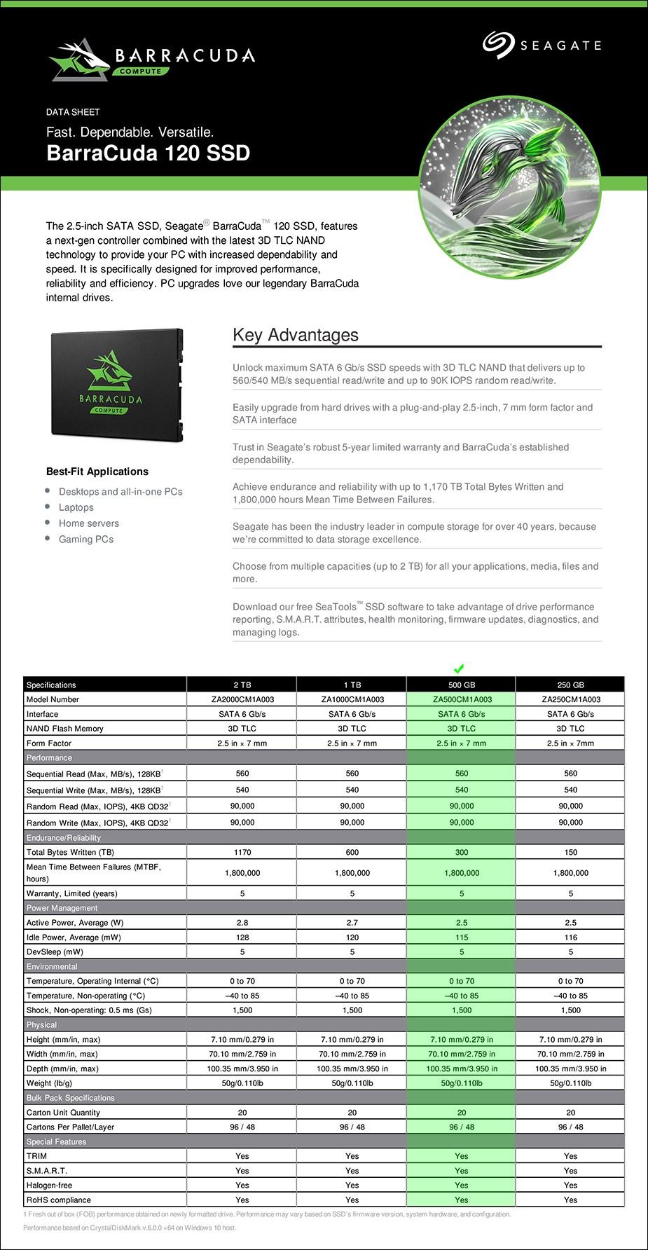 """Seagate Barracuda 120 500GB 2.5"""" SATA SSD - ZA500CM1A003 - Overview 1"""