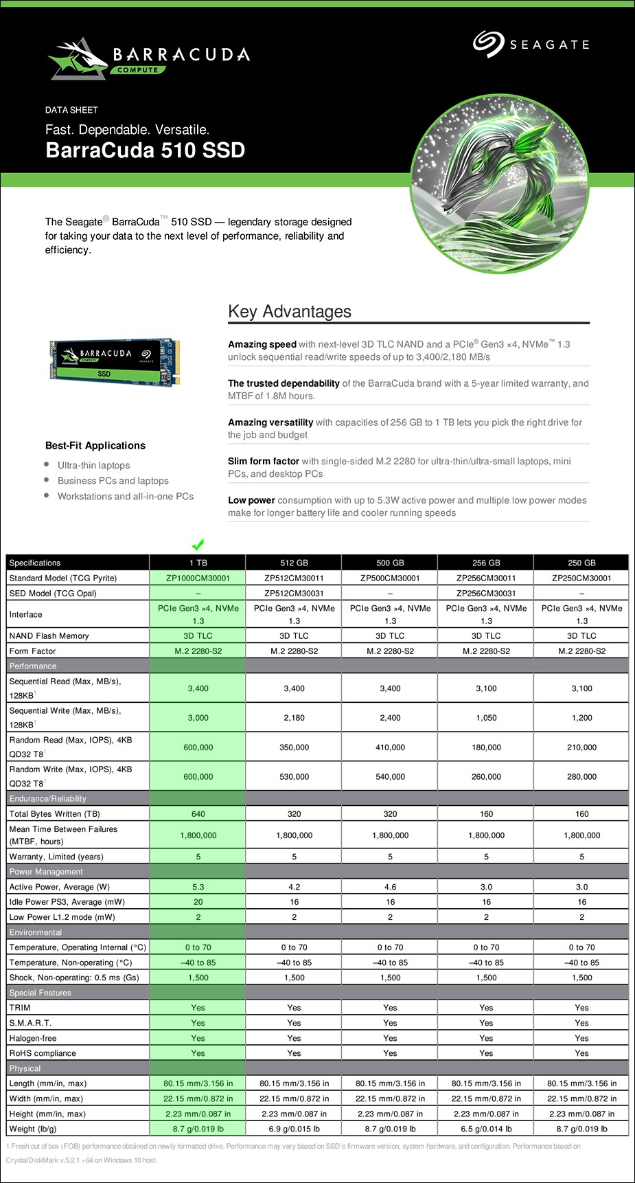 Seagate BarraCuda 510 1TB NVMe M.2 2280-S2 SSD - ZP1000CM3A001 - Overview 2