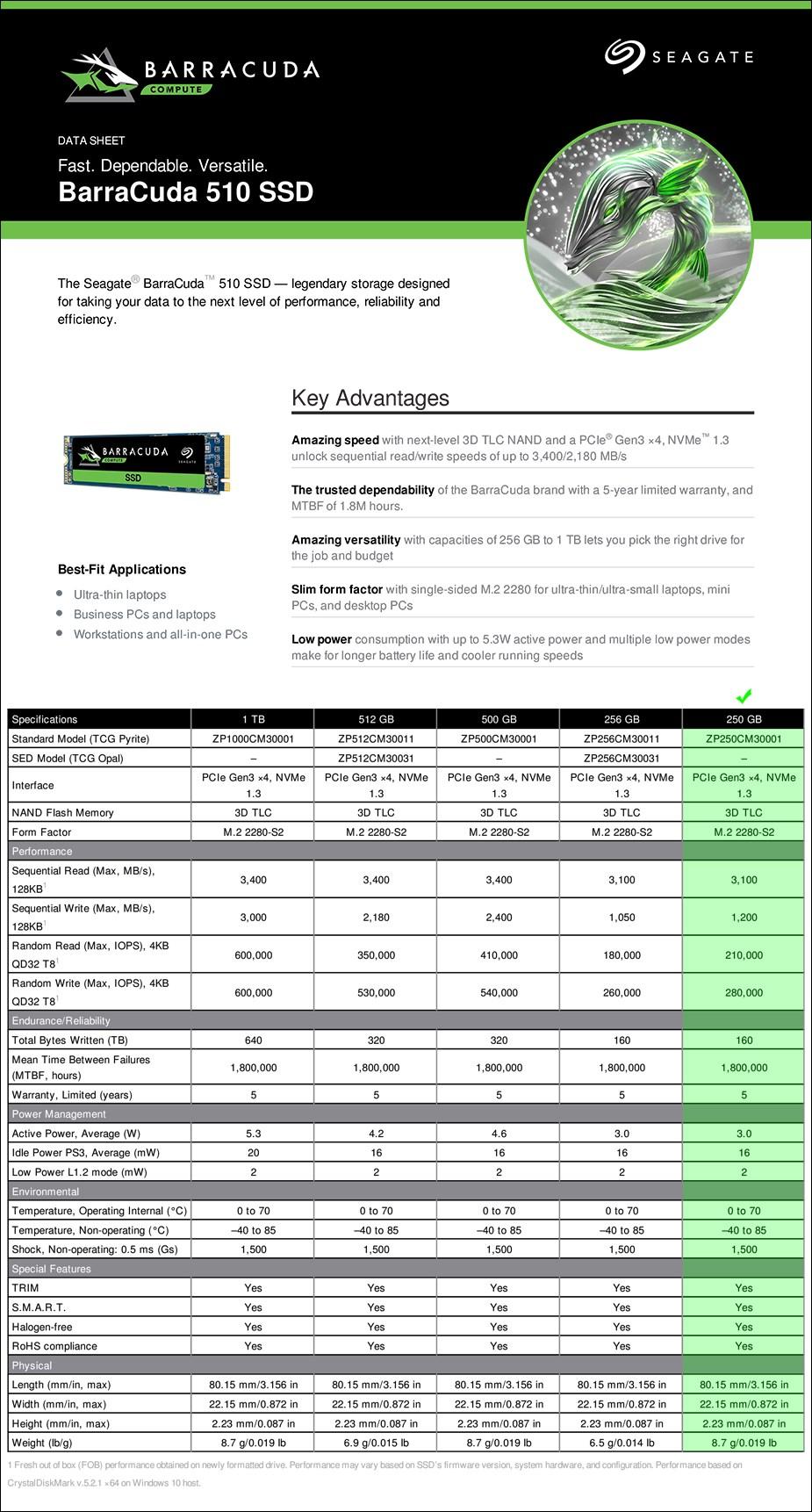Seagate BarraCuda 510 250GB NVMe M.2 2280-S2 SSD - ZP250CM3A001 - Overview 2