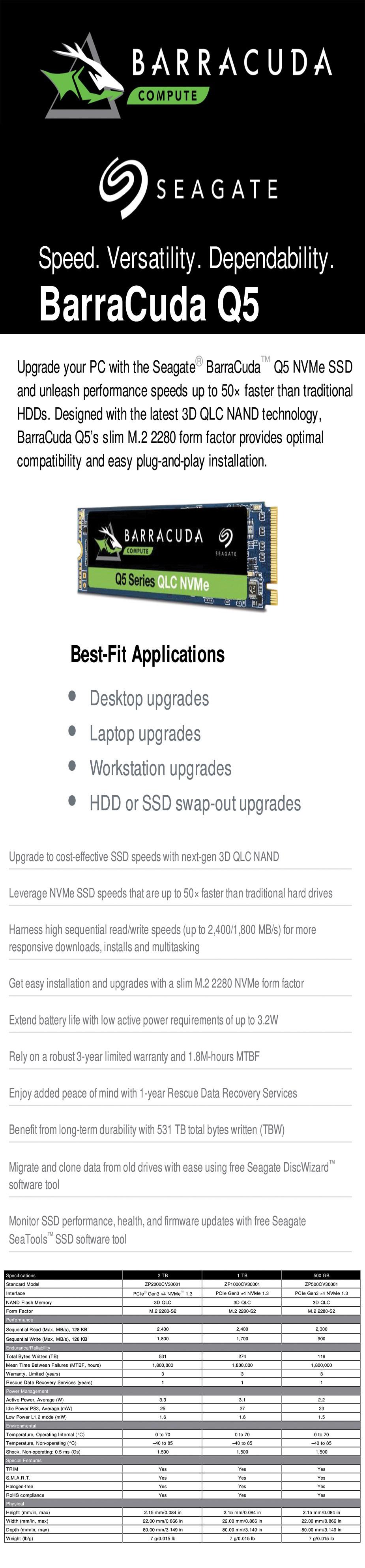 Seagate BarraCuda Q5 1TB NVMe M.2 QLC NAND SSD - ZP1000CV3A001 - Overview 1