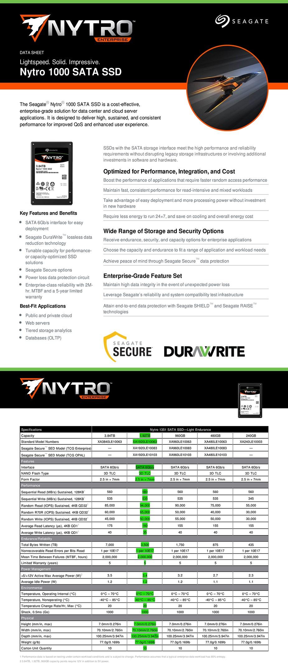 """Seagate Nytro 1351 XA1920LE10063 1.92TB 2.5"""" SATA Enterprise SSD - Overview 1"""