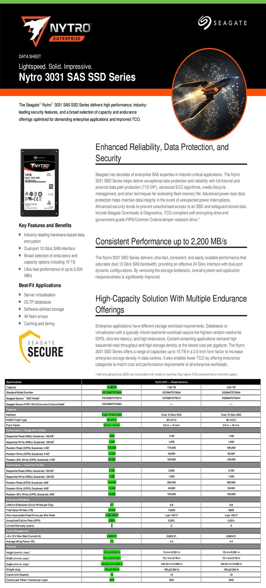"Seagate Nytro 3131 XS15360TE70004 15.36TB 2.5"" SATA Enterprise SSD - Overview 1"