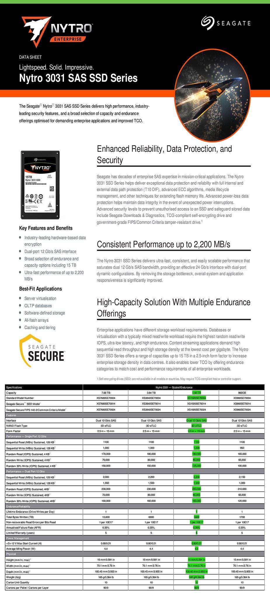 "Seagate Nytro 3331 XS1920SE70004 1.92TB 2.5"" SAS Enterprise SSD - Overview 1"