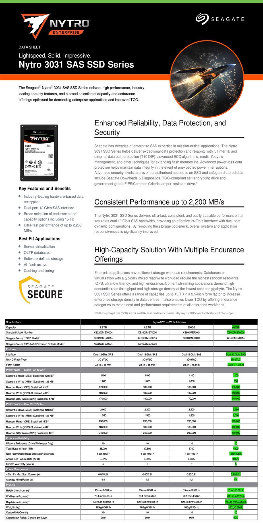 """Seagate Nytro 3731 XS400ME70004 400GB 2.5"""" SAS Enterprise SSD - Overview 1"""