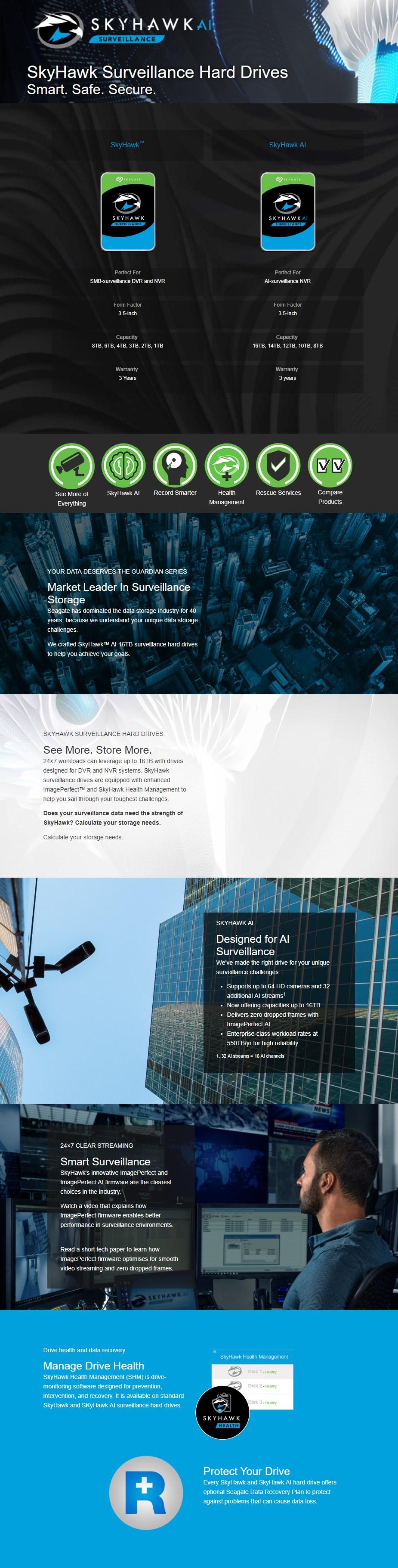 "Seagate ST14000VE0008 14TB SkyHawk AI 3.5"" Surveillance Hard Drive - Overview 1"