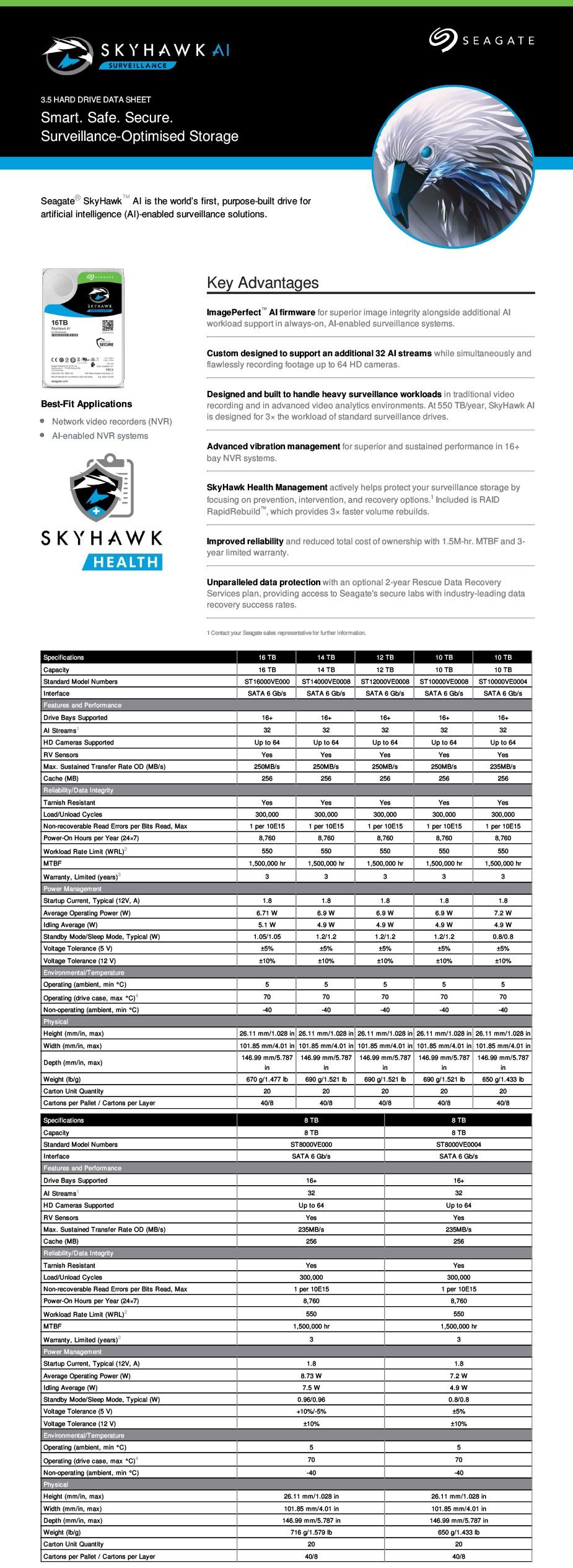 "Seagate ST16000VE000 16TB SkyHawk AI 3.5"" Surveillance Hard Drive - Overview 2"