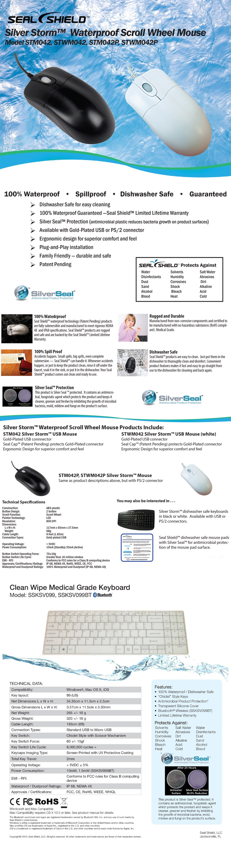 Seal Shield Clean Wipe Medical Grade Waterproof Chiclet Keyboard and Mouse Combo - Overview 1