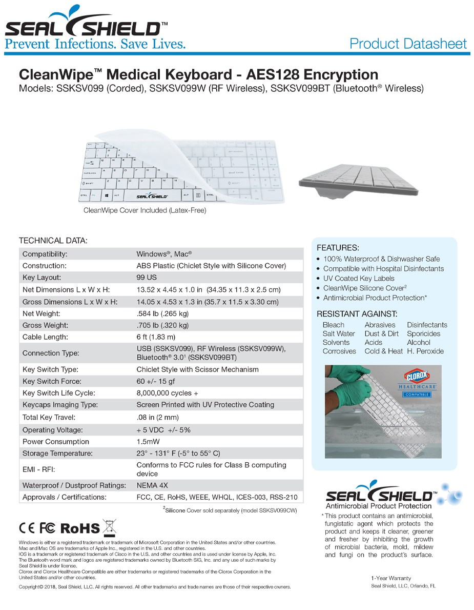 Seal Shield Clean Wipe Medical Grade Waterproof Chiclet Keyboard - White - Overview 1
