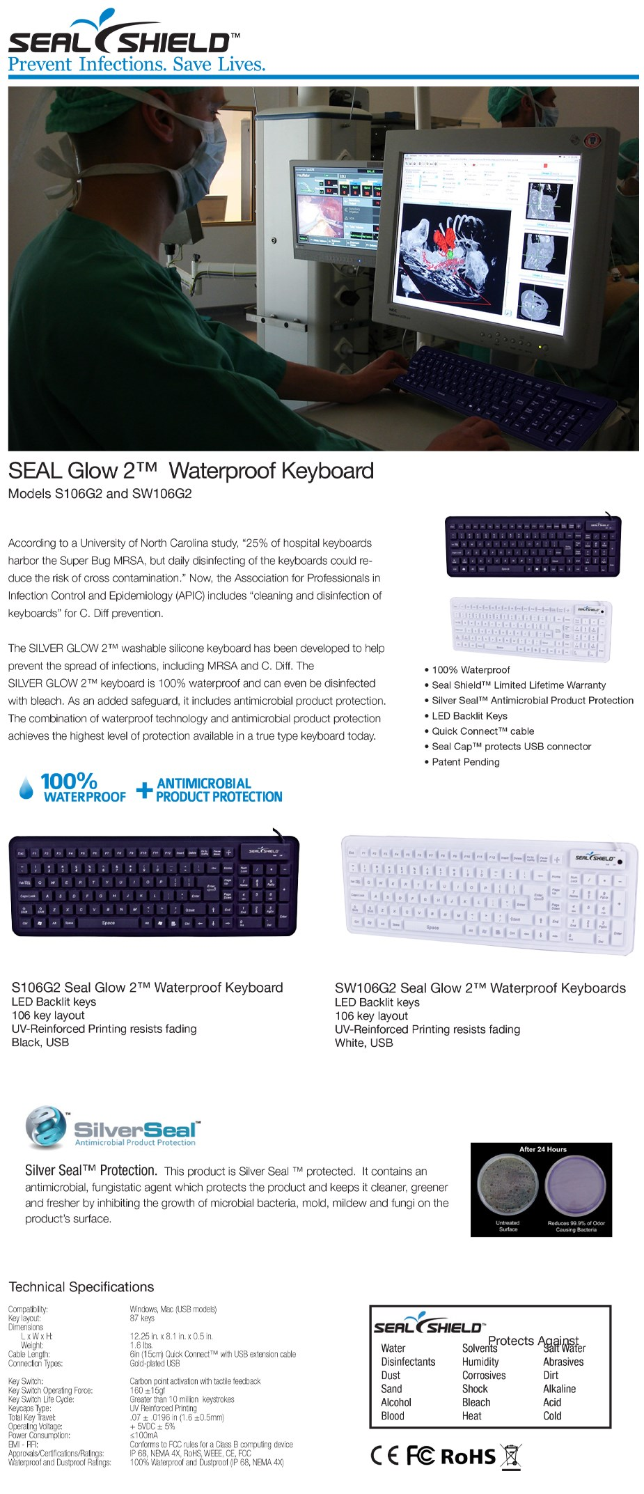Seal Shield Glow 2 Waterproof Keyboard - Black - Overview