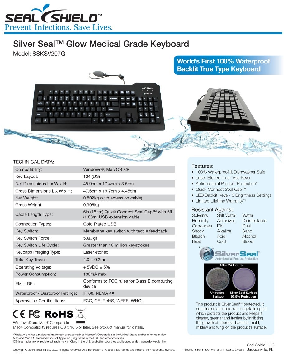 Seal Shield Glow Medical Grade Waterproof Keyboard - White - Overview 1