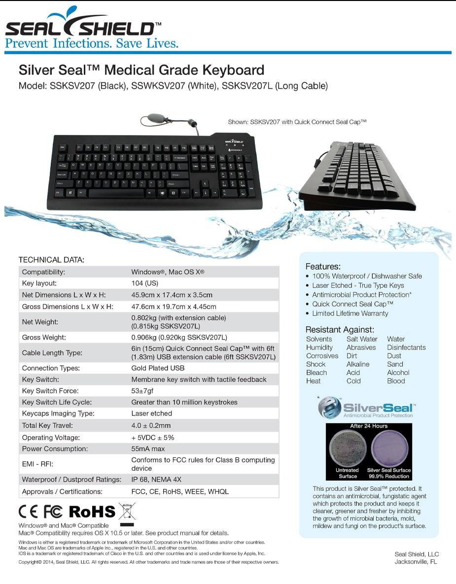 Seal Shield Medical Grade Waterproof Keyboard - White - Overview