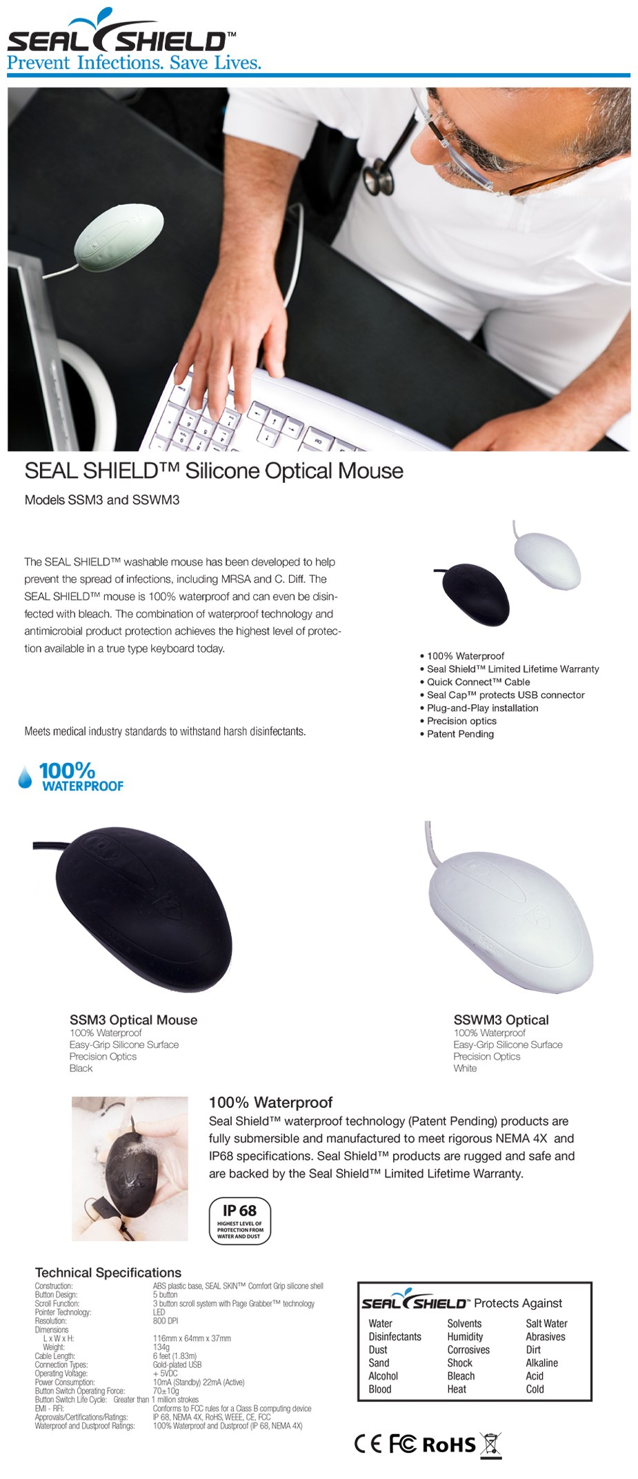Seal Shield Silicone Waterproof Optical Mouse - White - Overview 1