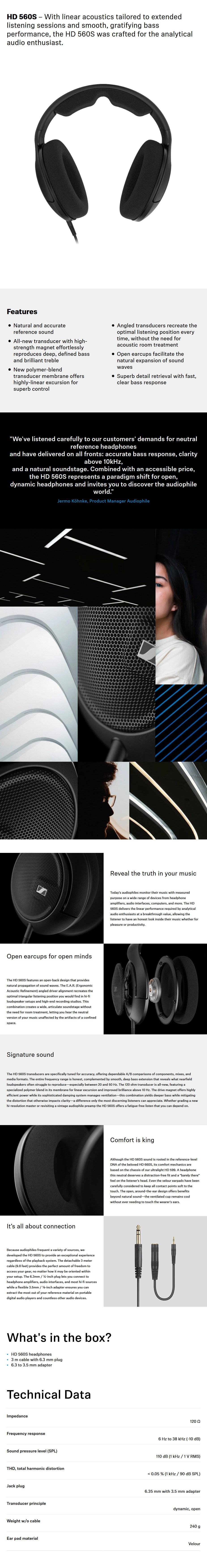 Sennheiser HD 560S Open-Back Dynamic Headphones - Desktop Overview 1