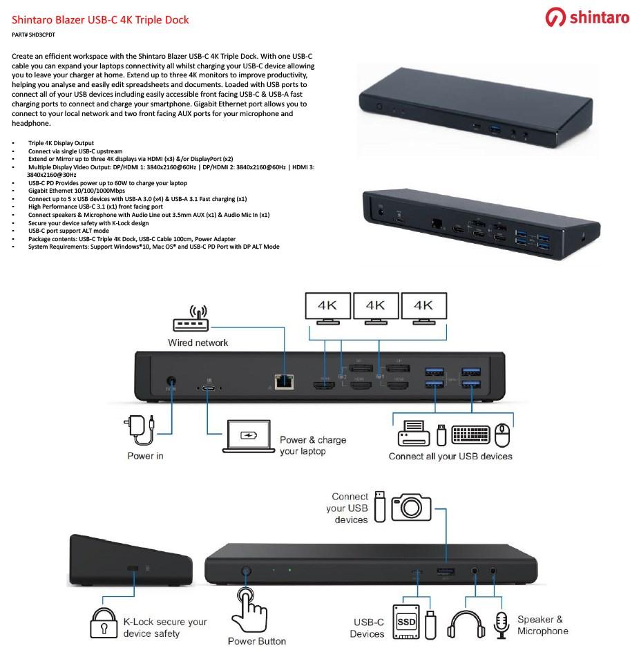 Shintaro Blazer USB-C 4K Triple Dock - Overview 1