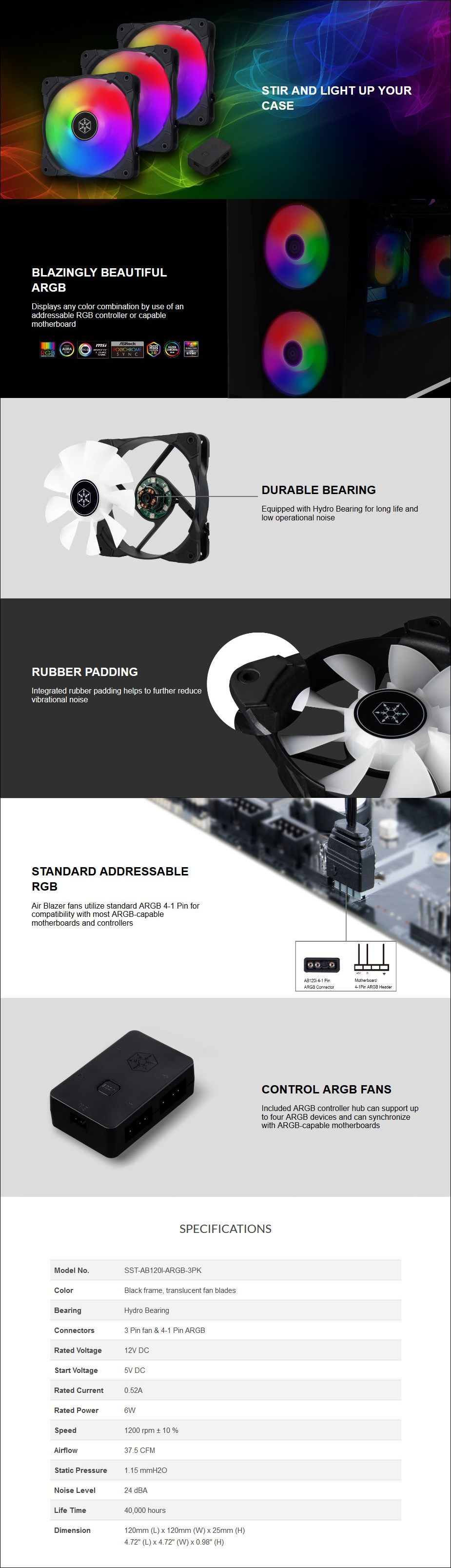 SilverStone Air Blazer 120i Lite 120mm Case Fan - 3 Pack with ARGB Controller - Overview 1