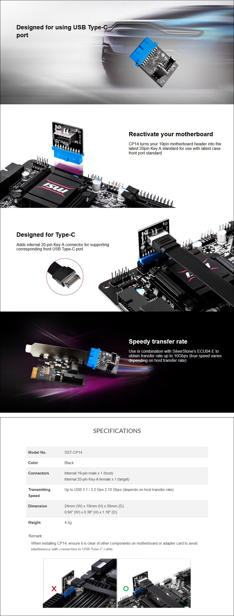 SilverStone CP14 Internal USB 3.0 to Internal USB Type-C Adapter - Overview 1
