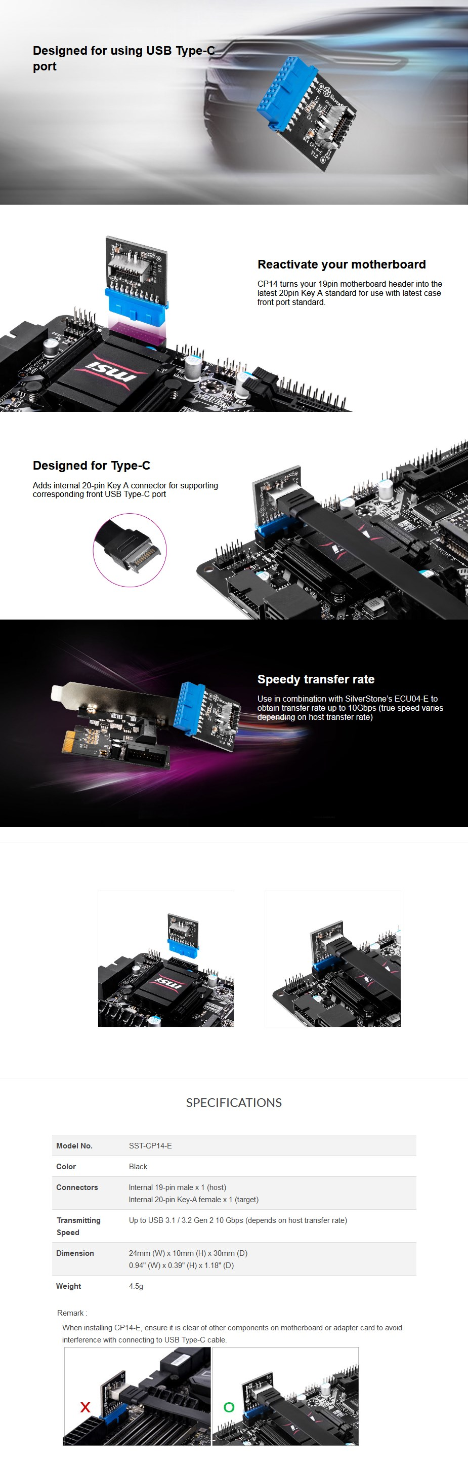 SilverStone CP14-E Internal USB 3.0 to Internal USB Type-C Adapter - Overview 1