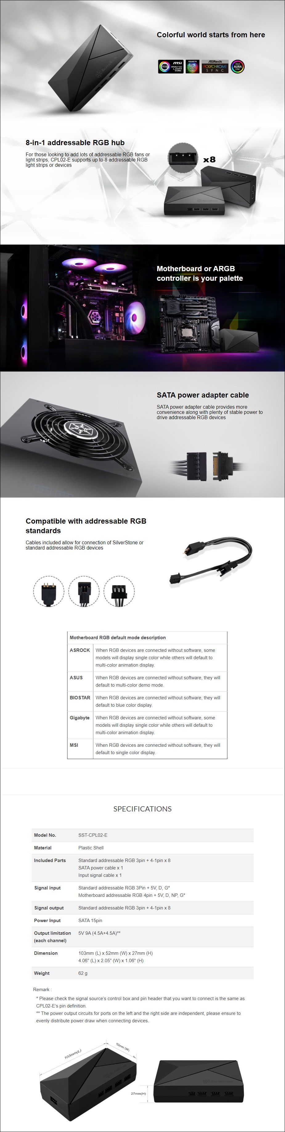 SilverStone CPL02-E 8-in-1 Addressable RGB HUB - Overview 1