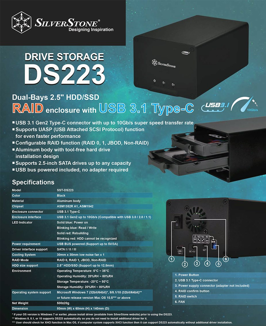 "SilverStone DS223 2.5"" 2 Bay USB 3.1 Gen 2 External RAID Enclosure - Overview 1"