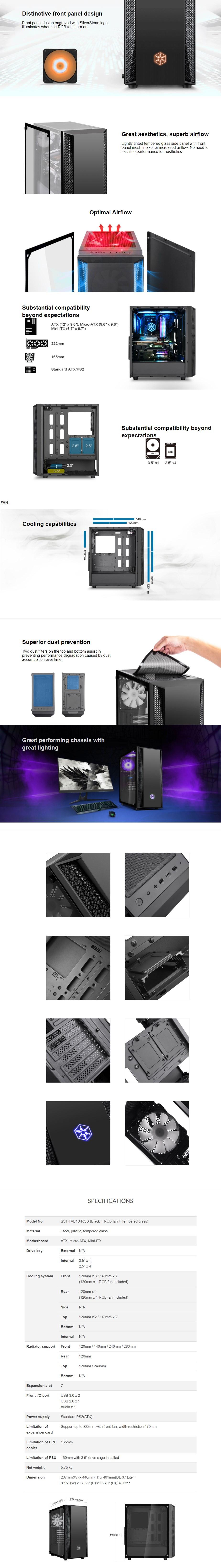SilverStone Fara B1 RGB Tempered Glass Mid-Tower ATX Case - Black - Overview 1