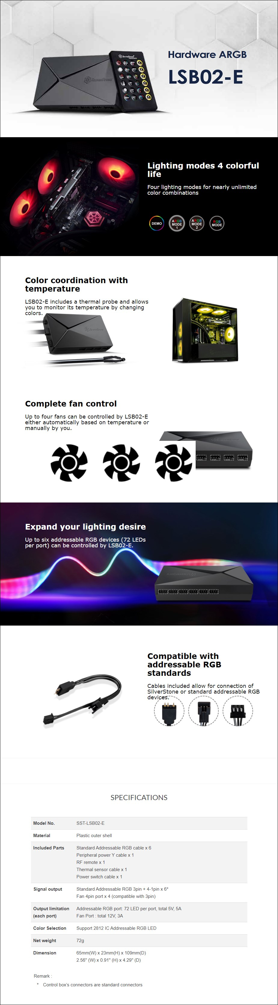 SilverStone LSB02-E Adressable RGB Device Controller - Overview 1