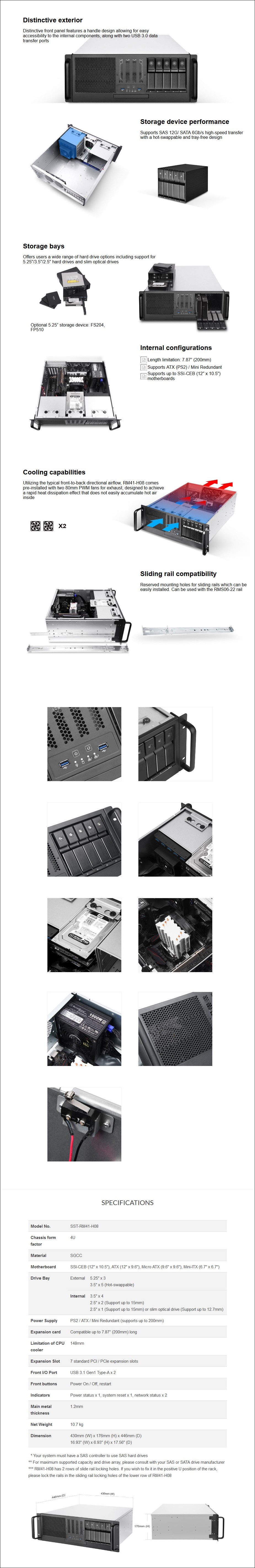 SilverStone RM41-H08 4U SSI-CEB Rackmount Server Chassis - Overview 1