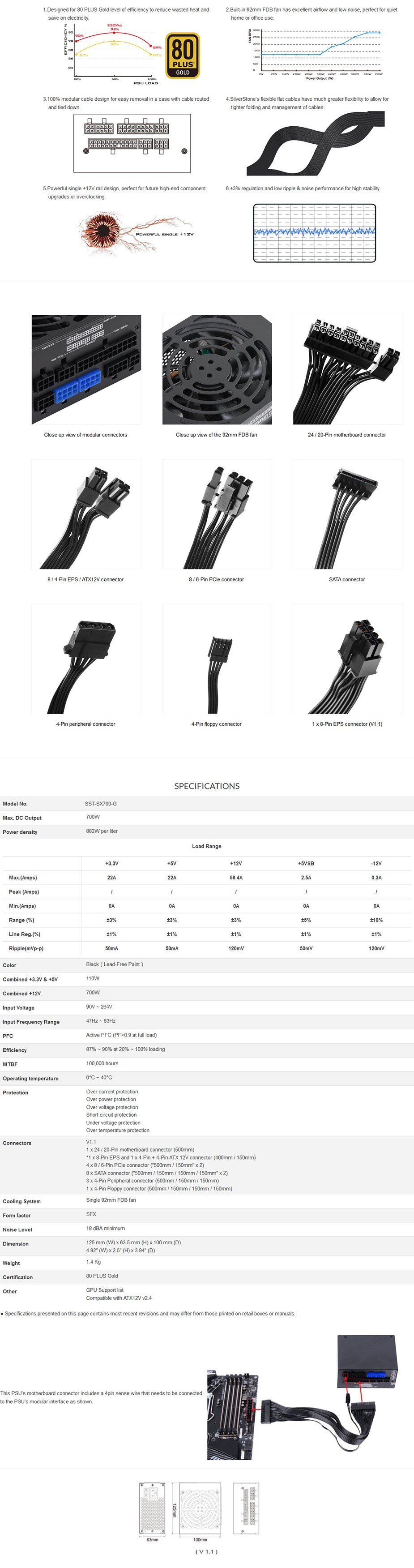 SilverStone SFX SX700-G V1.1 700W 80+ Gold Full Modular Power Supply - Overview 1